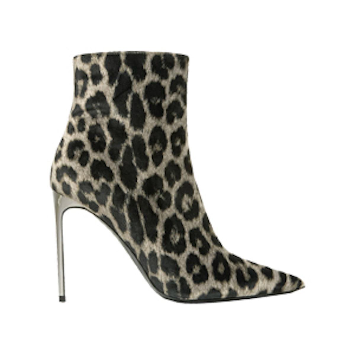 Leopard-Print Velvet Ankle Boots