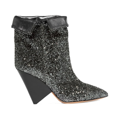 Luliana Glittered Metallic Leather Ankle Boots