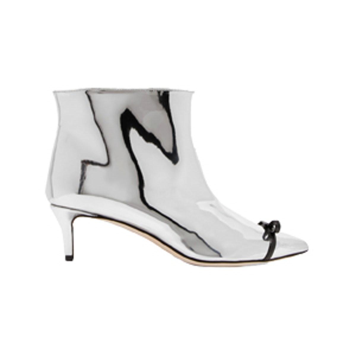 Bow-Embellished PVC-Trimmed Mirrored Faux Leather Ankle Boots