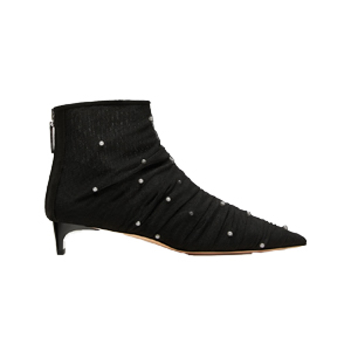 High Heel Tulle Ankle Boots With Faux Pearls