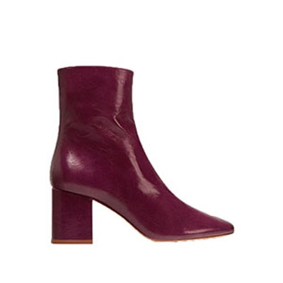 Leather Ankle Boots With Block Heel