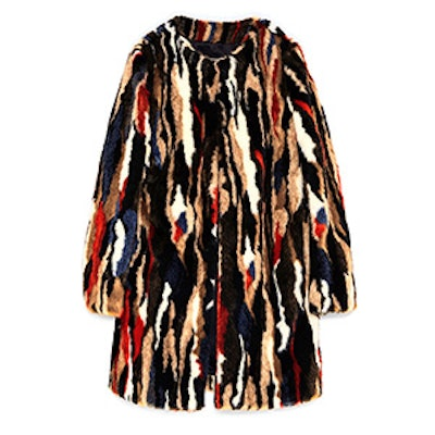 Multicolored Faux Fur Coat