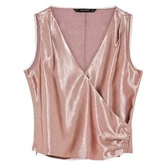 Satin Top With Draped Detail