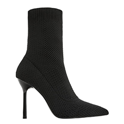 Stretch Fabric High Heel Ankle Boots