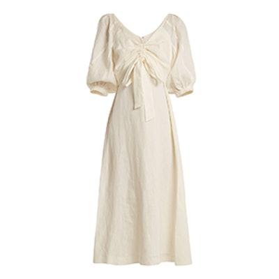Painted Heart V-Neck Gathered Linen Midi Dress