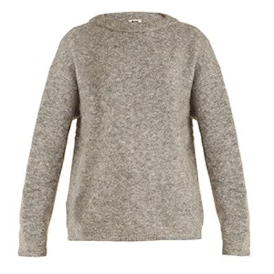 Dramatic Round-Neck Brushed-Knit Sweater