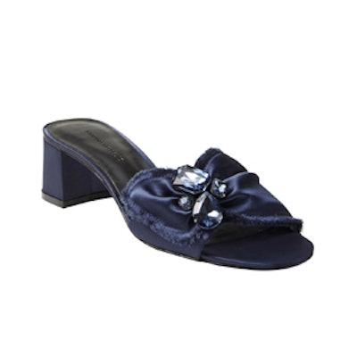 Mid Heel Embellished Satin Slide