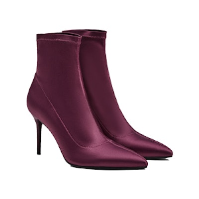 Satin Ankle Boots With Stiletto Heels