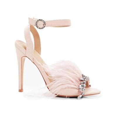 Saskia Diamante & Feather Trim Heels