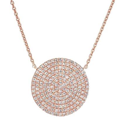 14kt Rose Gold Diamond Disc Necklace