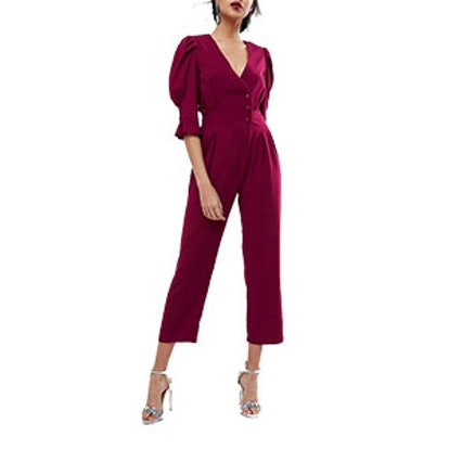 Teas Jumpsuit with Button Sleeve and Peg Leg