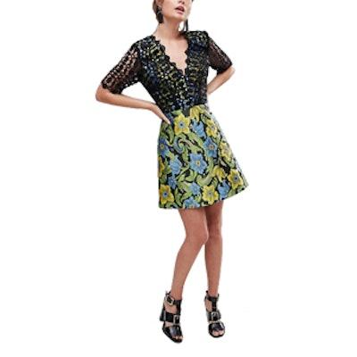 Lace Top Jacquard Mini Skater Dress