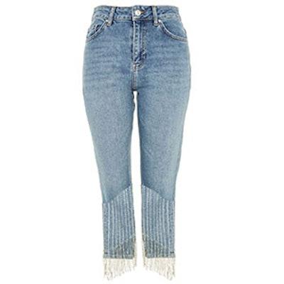 Straight Leg Dazzle Hem Jeans