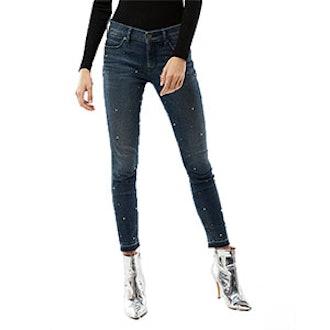 Mid Rise Pearl Ankle Jean Leggings