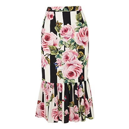 Floral-Print Silk-Blend Midi Skirt
