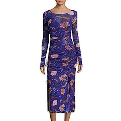 Long Sleeve Floral Mesh Overlay Dress