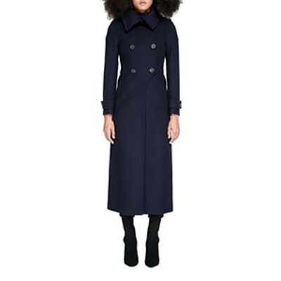 Elodie Double Buttoned Tailored Flat Wool Coat
