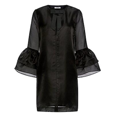 Seneca Bell Sleeve Bow Tie Silk Mini Dress