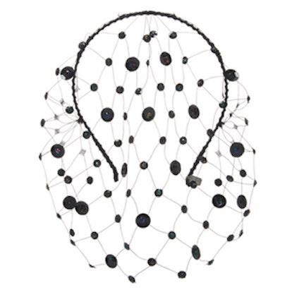 Raven Embellished Veil Headband