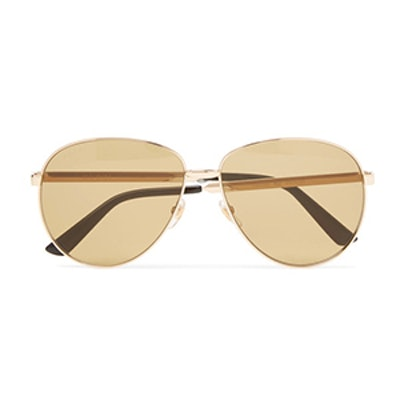 Aviator Style Enameled Gold Tone Sunglasses