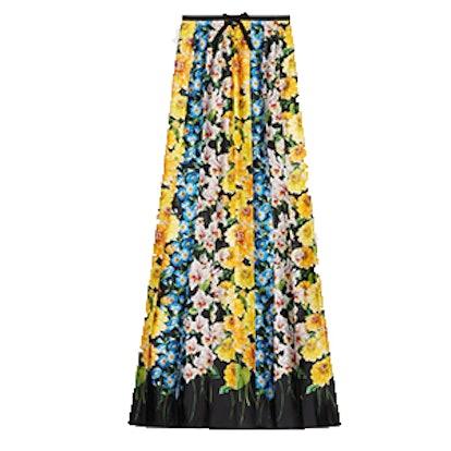 Florage Print Satin Pleated Skirt