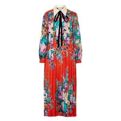 Velvet-Trimmed Pleated Printed Silk Crepe de Chine Midi Dress