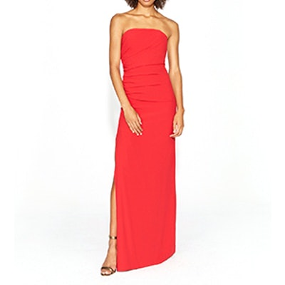 Strapless Ruched Side Crepe Gown