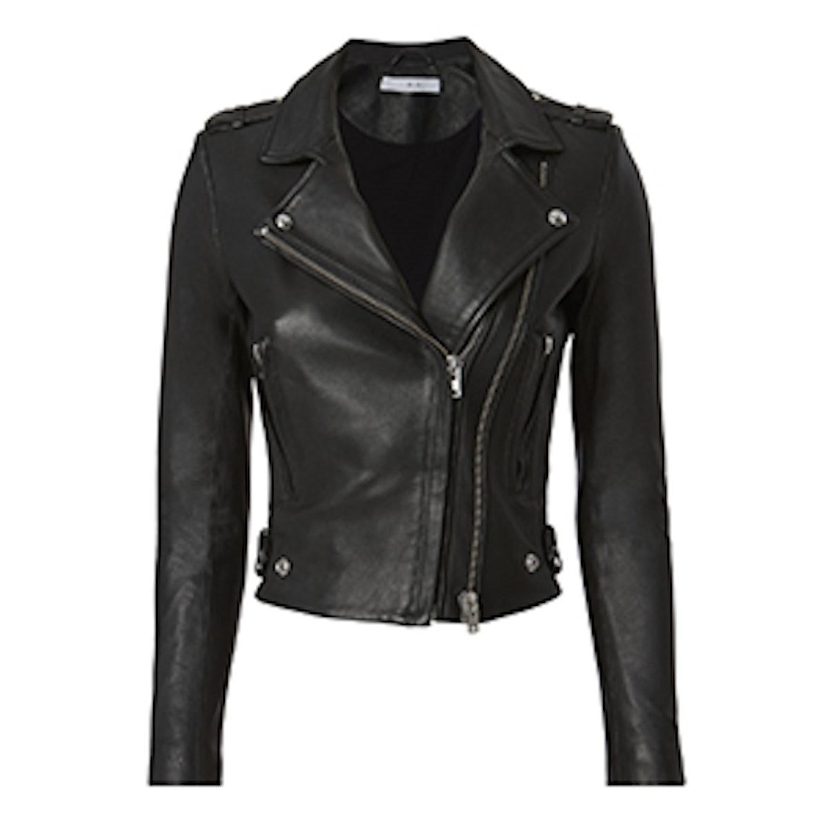 Dylan Black Leather Cropped Moto Jacket