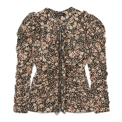 Bali Ruched Floral-Print Silk-Blend Blouse