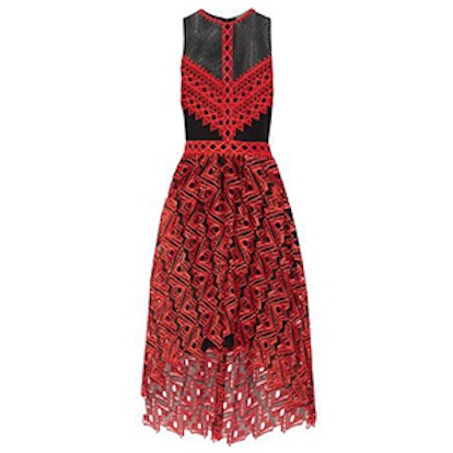Asymmetric Pleated Guipire and Leavers Lace Dress