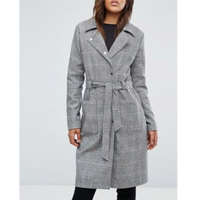 Tall Check Tie Waist Trench Coat