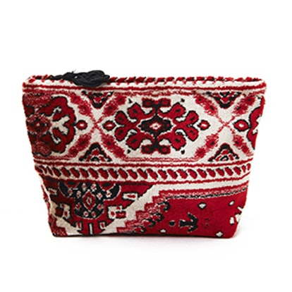 Red And Cream Plush Velour Small Pouch