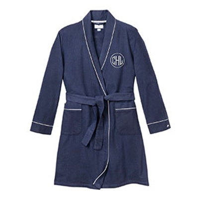 Monogrammed Classic Flannel Robe, Navy