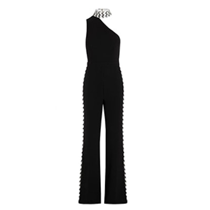 Fletcher Chevron Embroidered Stretch-Crepe Jumpsuit
