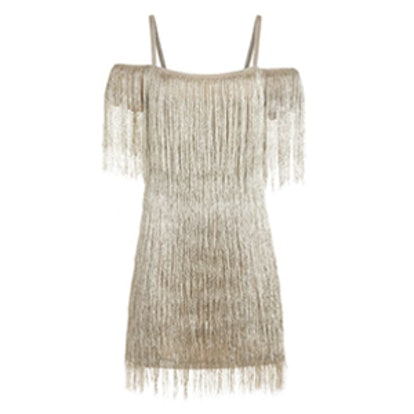 Elie Metallic Fringe Mini Dress