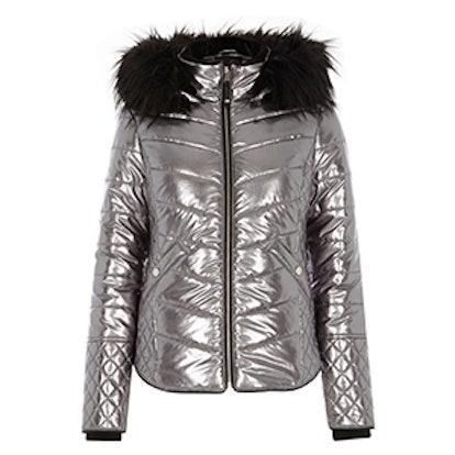 Silver Metallic Faux Fur Trim Padded Jacket