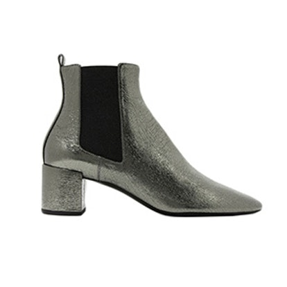 Loulou Metallic Cracked-Leather Ankle Boots
