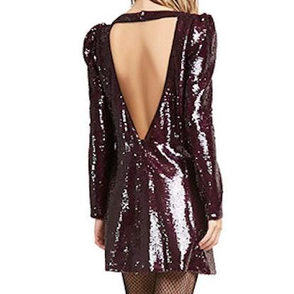 Sequin Cutout-Back Dress