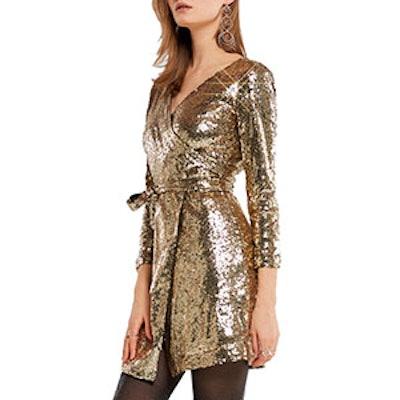 Samantha Party Sequin Wrap Mini Dress