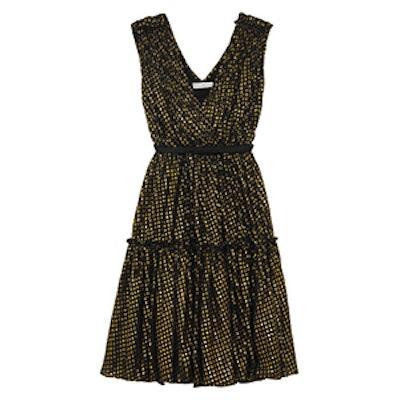 Metallic Fil Coupe Silk-Chiffon Dress