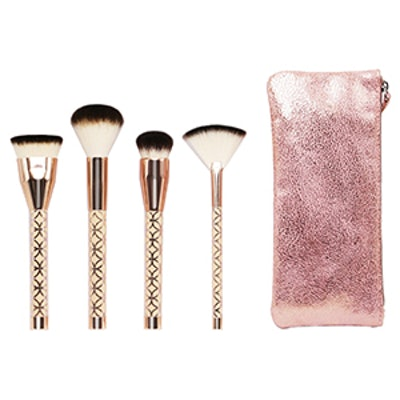 Bag And Brush Set In Rose Gold