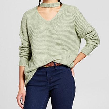 Oversized Choker Neck Sweater