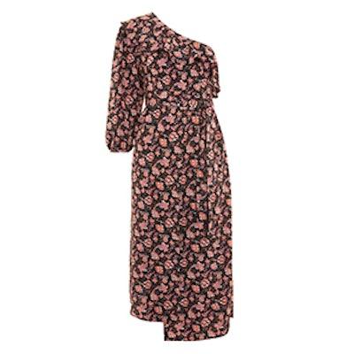 One-Shoulder Paisley Midi Dress