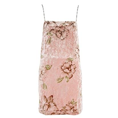 Floral Velvet Square Neck Mini Slip Dress