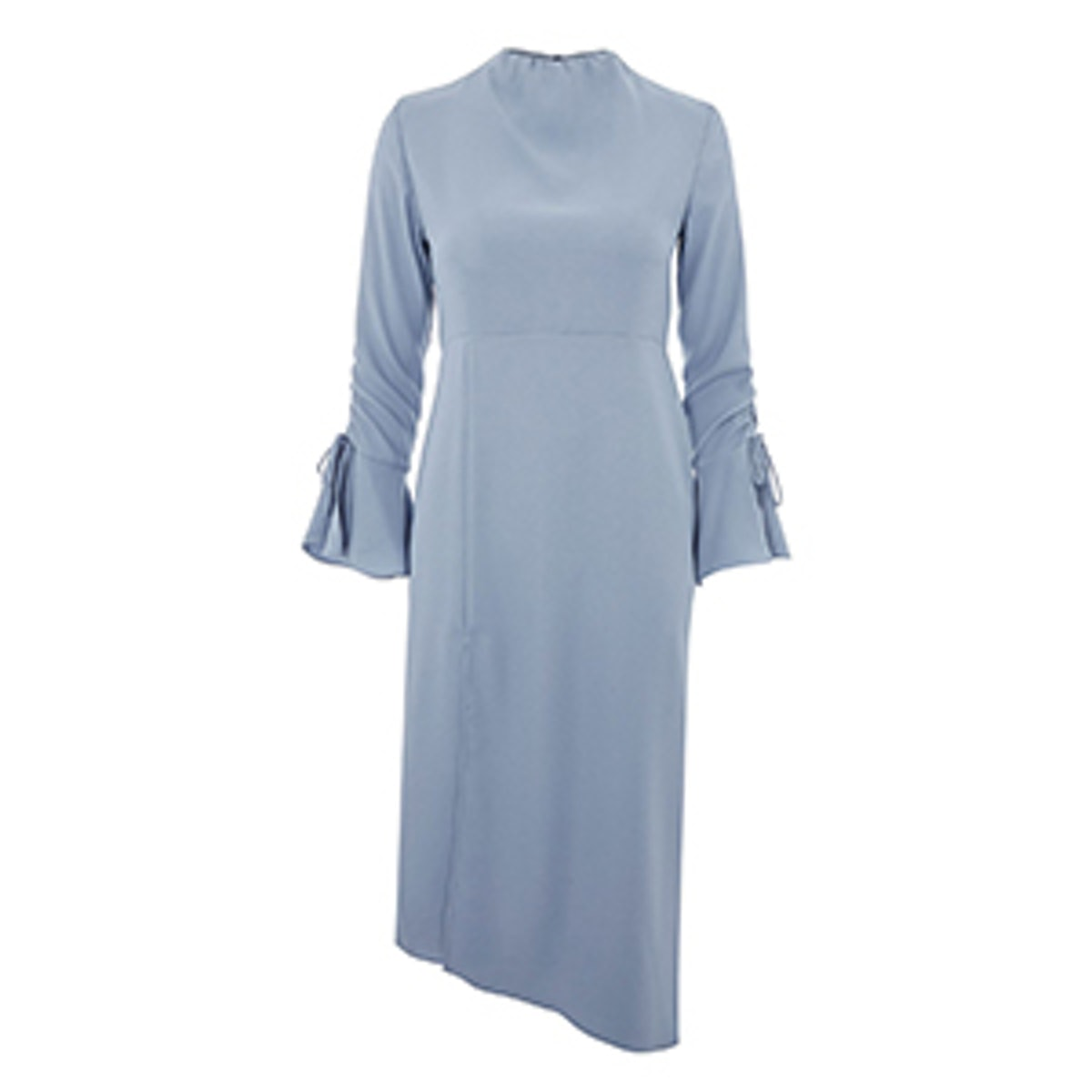 High Neck Rouche Midi Dress