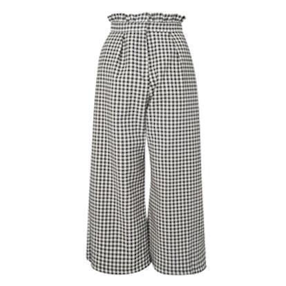Ruffle Trim Gingham Trousers