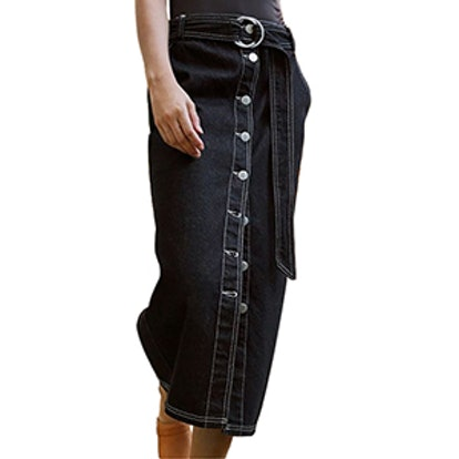 Belted Button-Down Midi Skirt