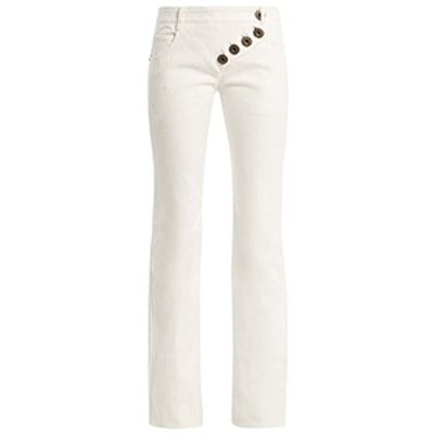 Mid-Rise Asymmetric-Button Flared Jeans