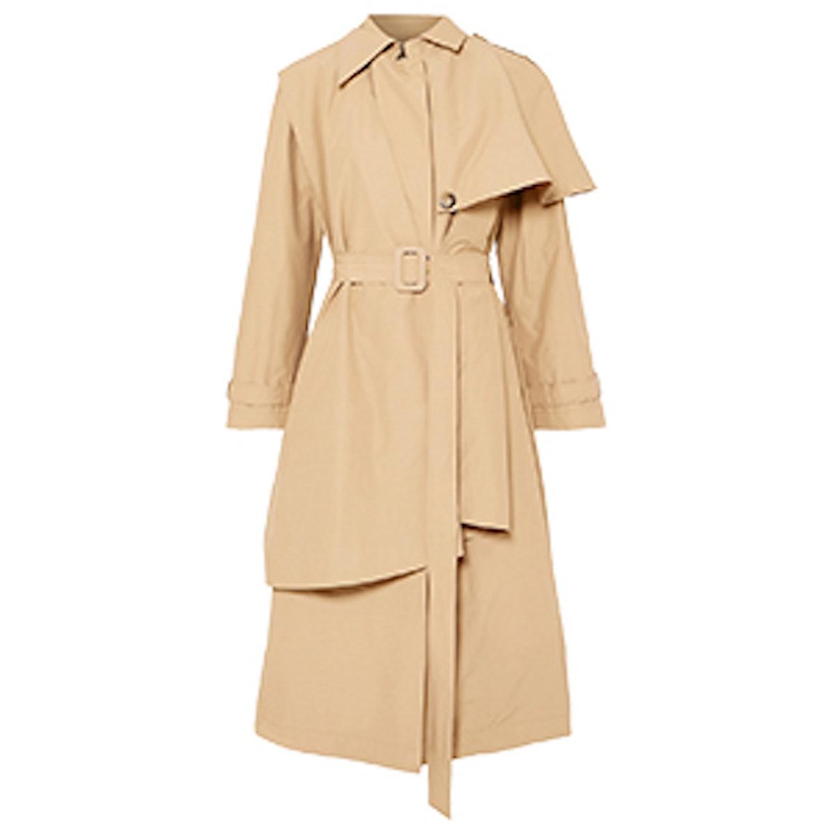 Cape-Effect Cotton-Blend Trench Coat