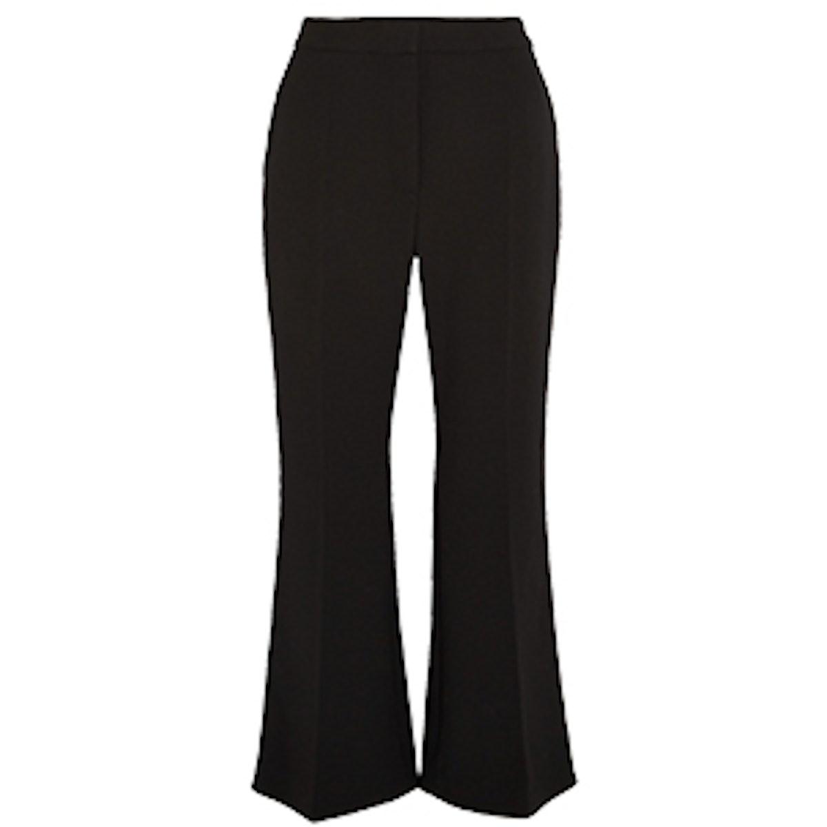 Angela Cropped Wool-Blend Crepe Flared Pants